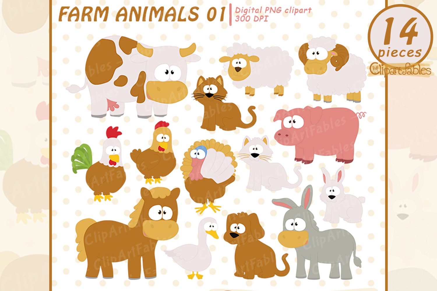 hight resolution of farm clip art set barnyard clipart cute farm animals example image 1