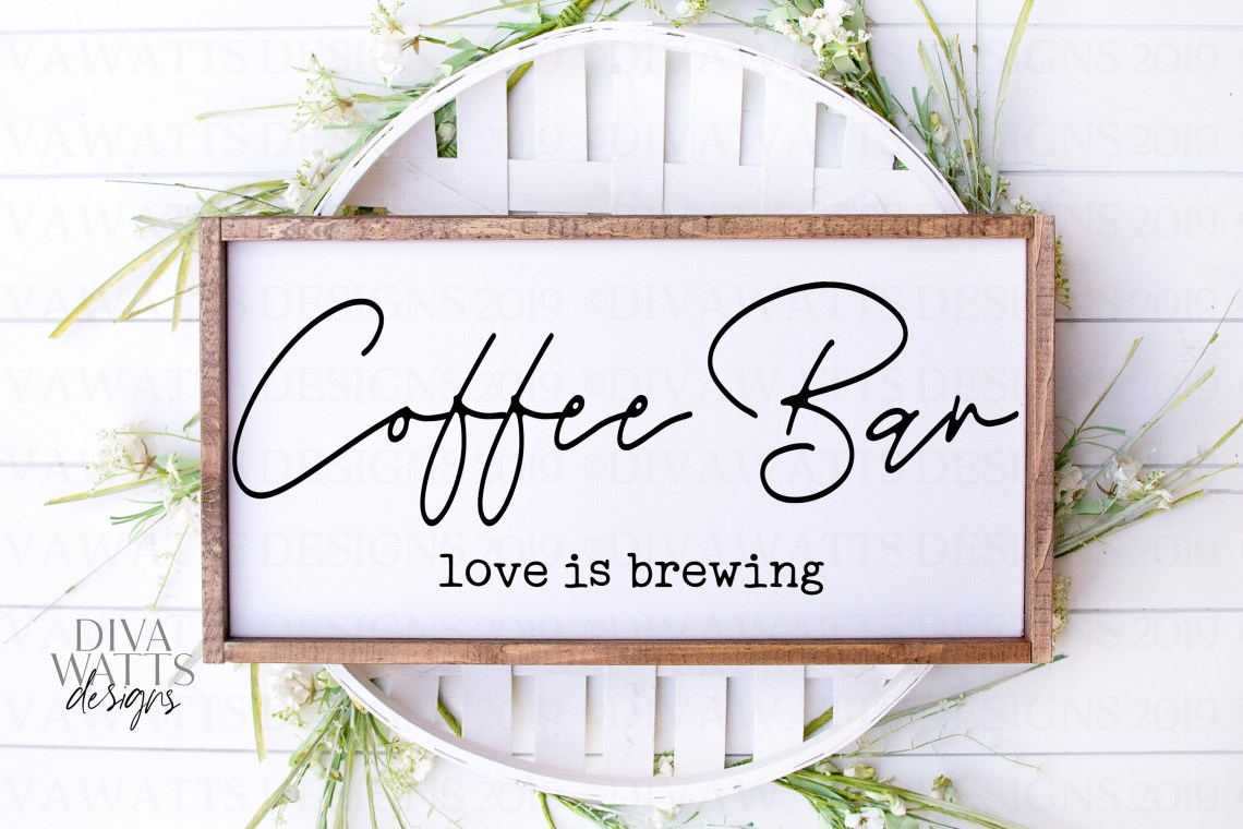 Download Coffee Bar Love Is Brewing - Kitchen Farmhouse Sign SVG