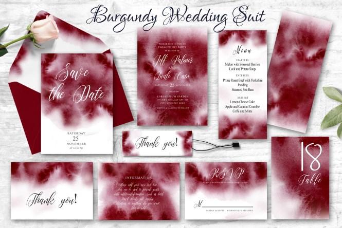 Burgundy Watercolor Wedding Invitation Suite