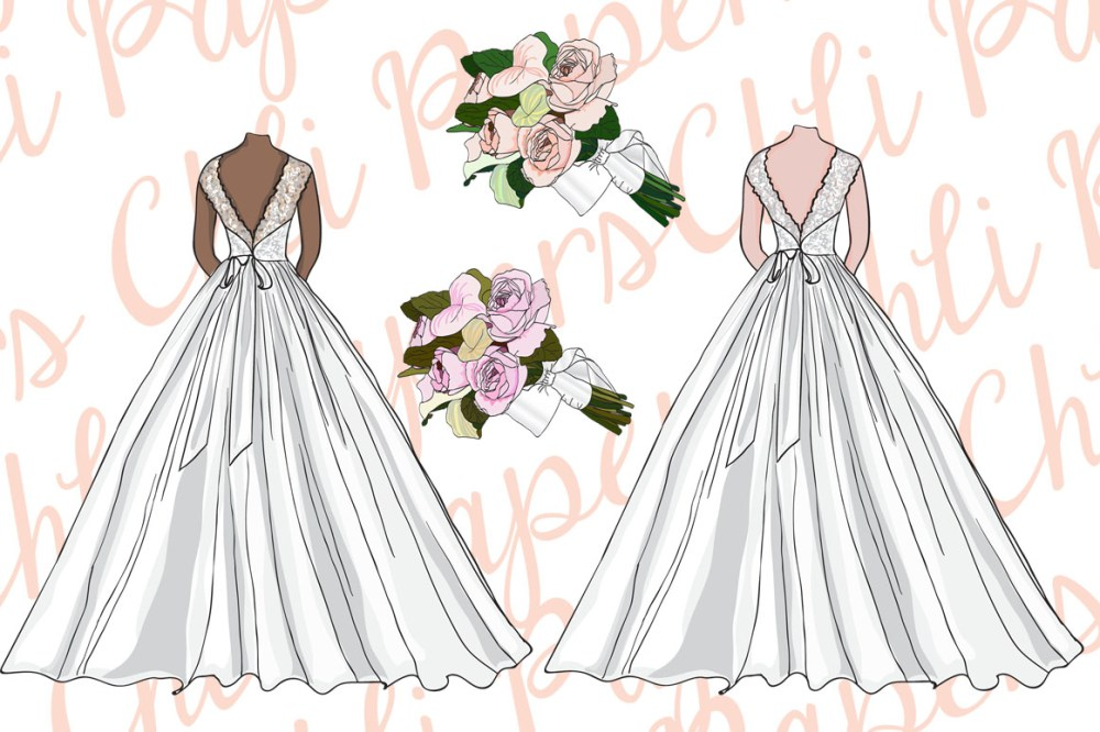 medium resolution of bridesmaid clipart bride clipart wedding gowns diy invites example image 3