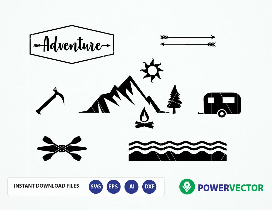Adventure Clipart Svg, Eps, Dxf, Silhouette Studio