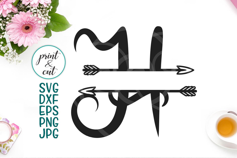 Split Monogram Individual Letter H Arrow Svg Digital For Cut