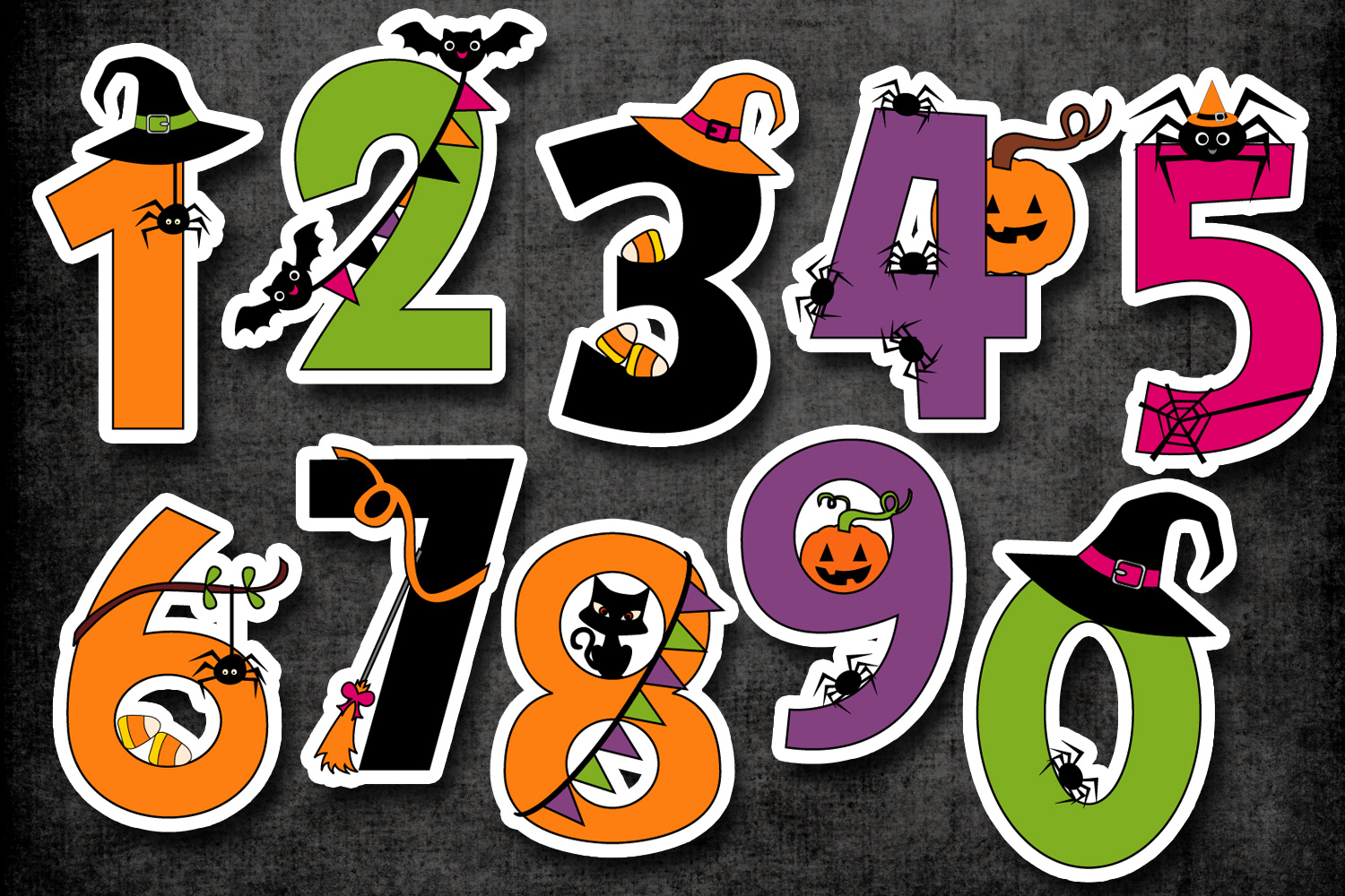 Halloween Numbers Clipart Graphic Illustrations
