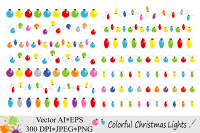 Colorful Christmas String Lights Clipart - Vector