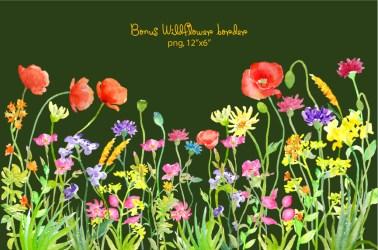 wildflower border meadow wild flower clipart watercolor corner instant watercolour cards croft illustrations poppy cart