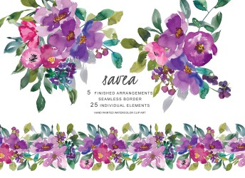 watercolor purple flowers clip painted hand clipart graphics illustrations designer follow