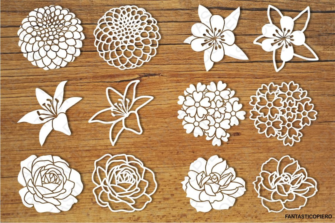 Download Flowers set 3 SVG files for Silhouette and Cricut.
