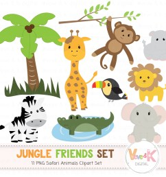 safari jungle animals clip art african animals clipart jungle clipart baby animals  [ 1500 x 1352 Pixel ]