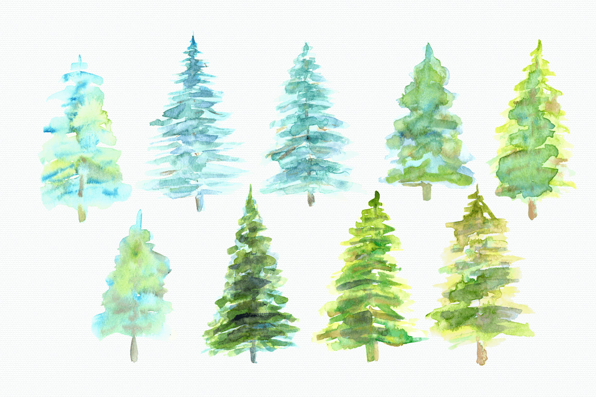 hight resolution of watercolor pine trees clip art example image 2