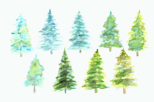 small resolution of watercolor pine trees clip art example image 2