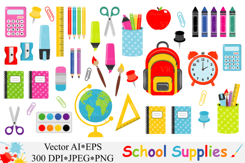 small resolution of school supplies clipart back to school clipart vector example image 1