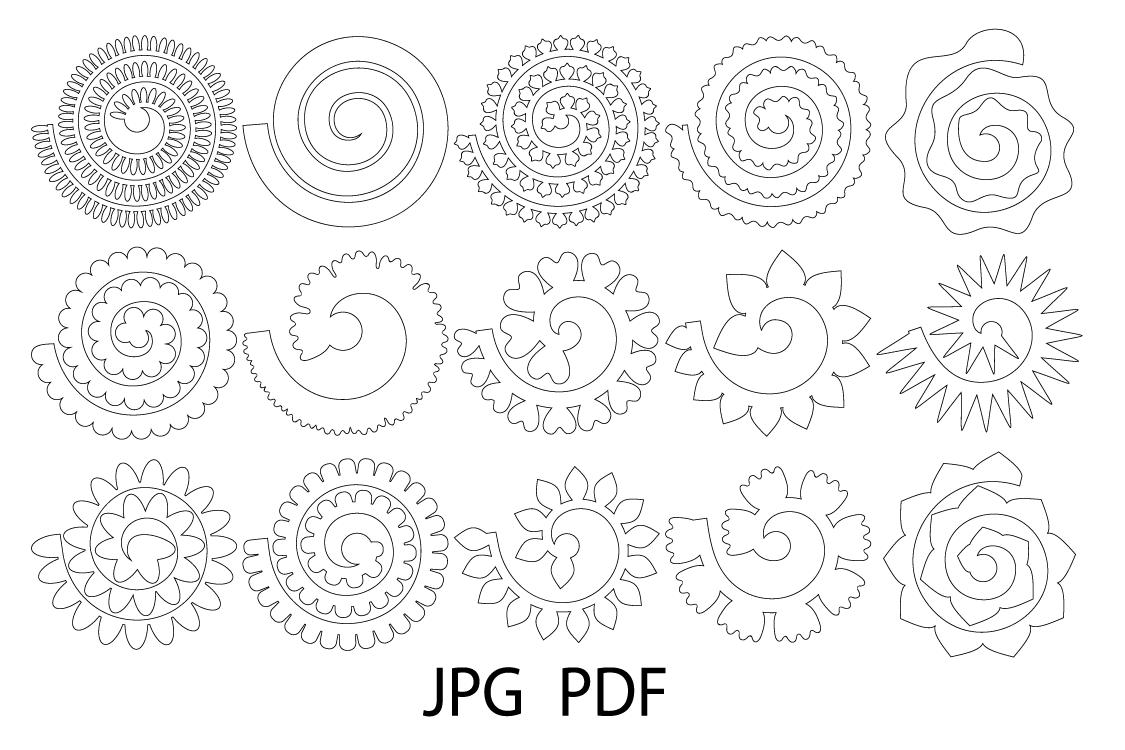 Rolled Paper Flower Templates SVG, 3D Rose SVG, Origami Rose