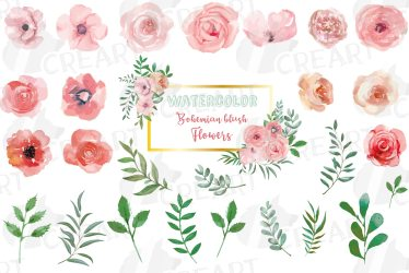pink flowers clip watercolor blush wedding floral leafs designer follow
