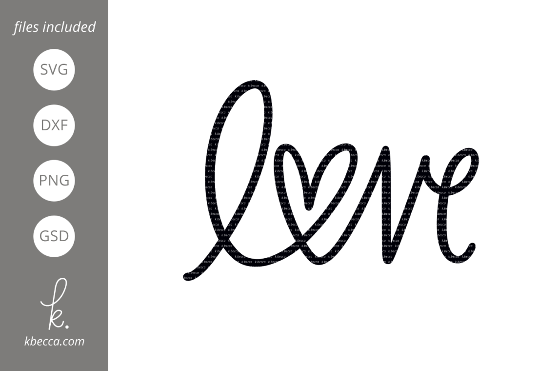 Download Love Heart Word SVG Cut Files (188951) | Hand Lettered ...