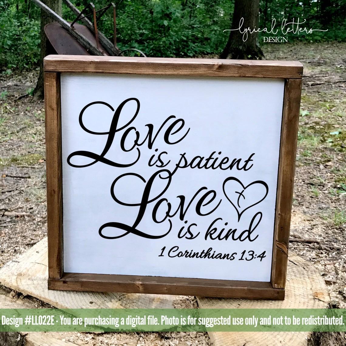 Download Love Is Patient Love is Kind 1 Corinthians 13 SVG DXF ...