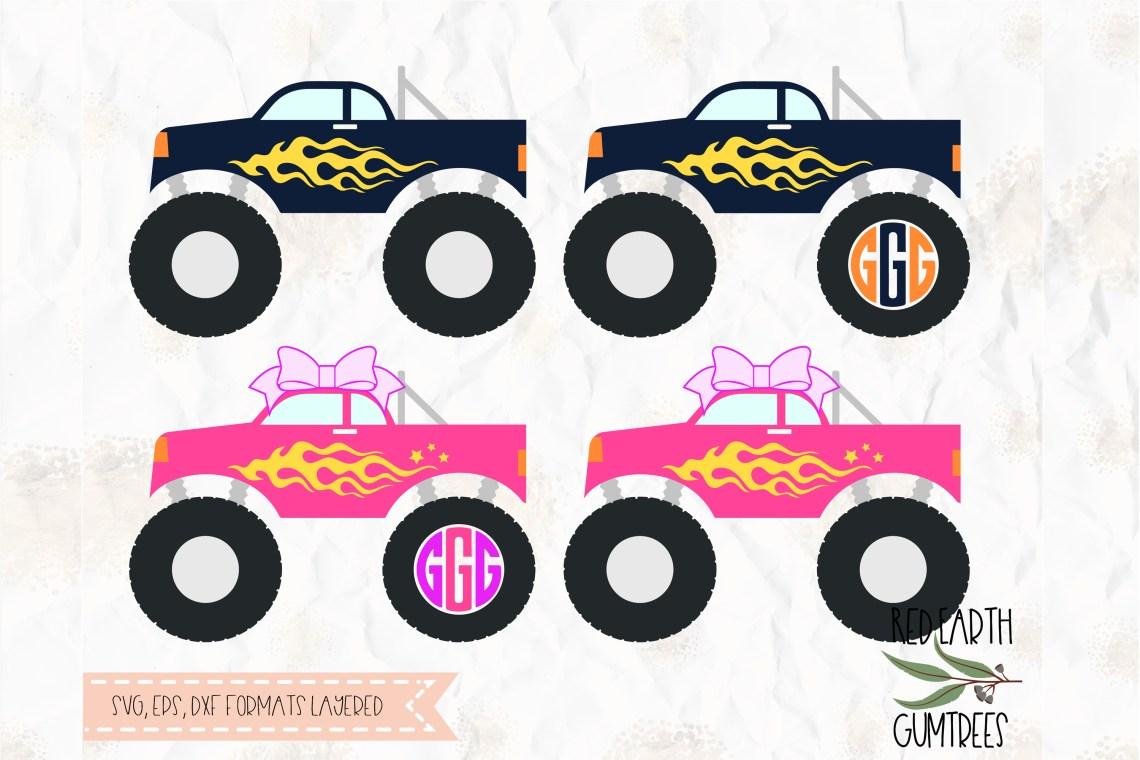 Download Monster trucks, Monster truck monogram frame cut file, SVG ...
