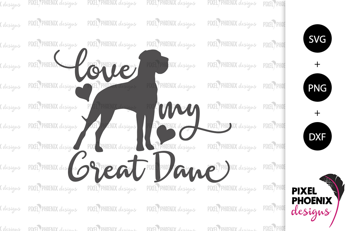 Dog Svg Love My Great Dane Svg