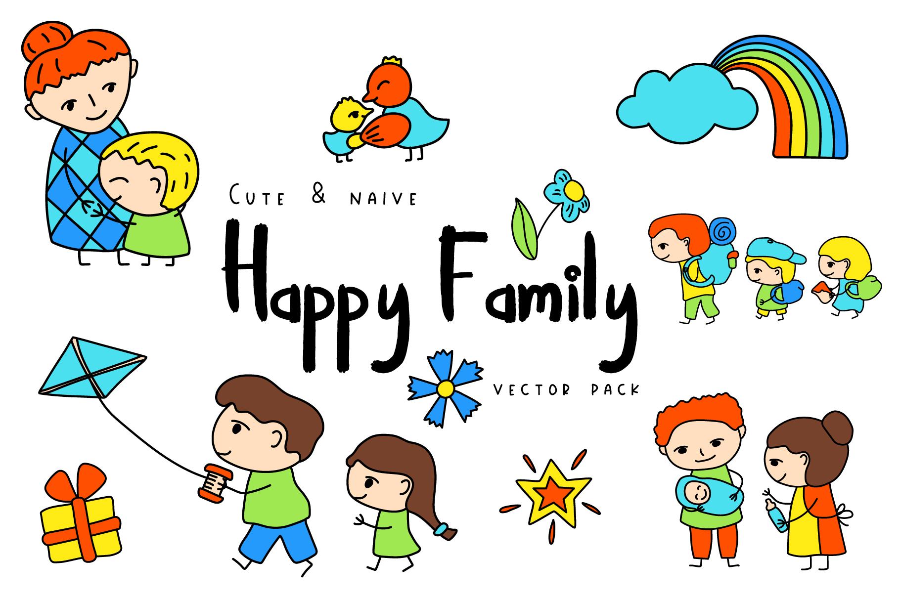 happy family simple vector