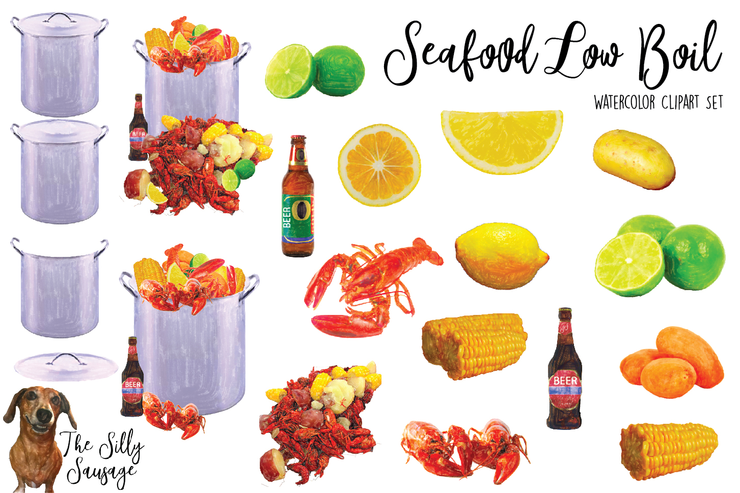 hight resolution of seafood low country boil watercolor clipart example image 2