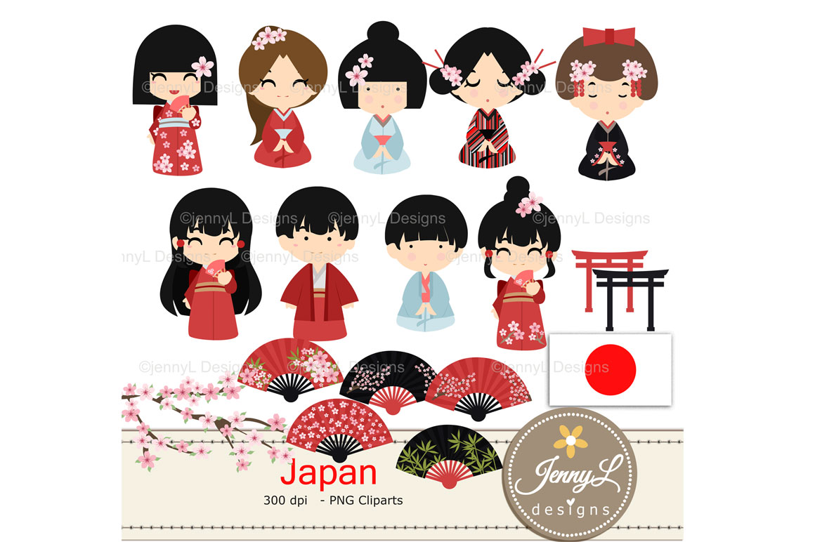 hight resolution of japan digital papers and japanese clipart set example image 2