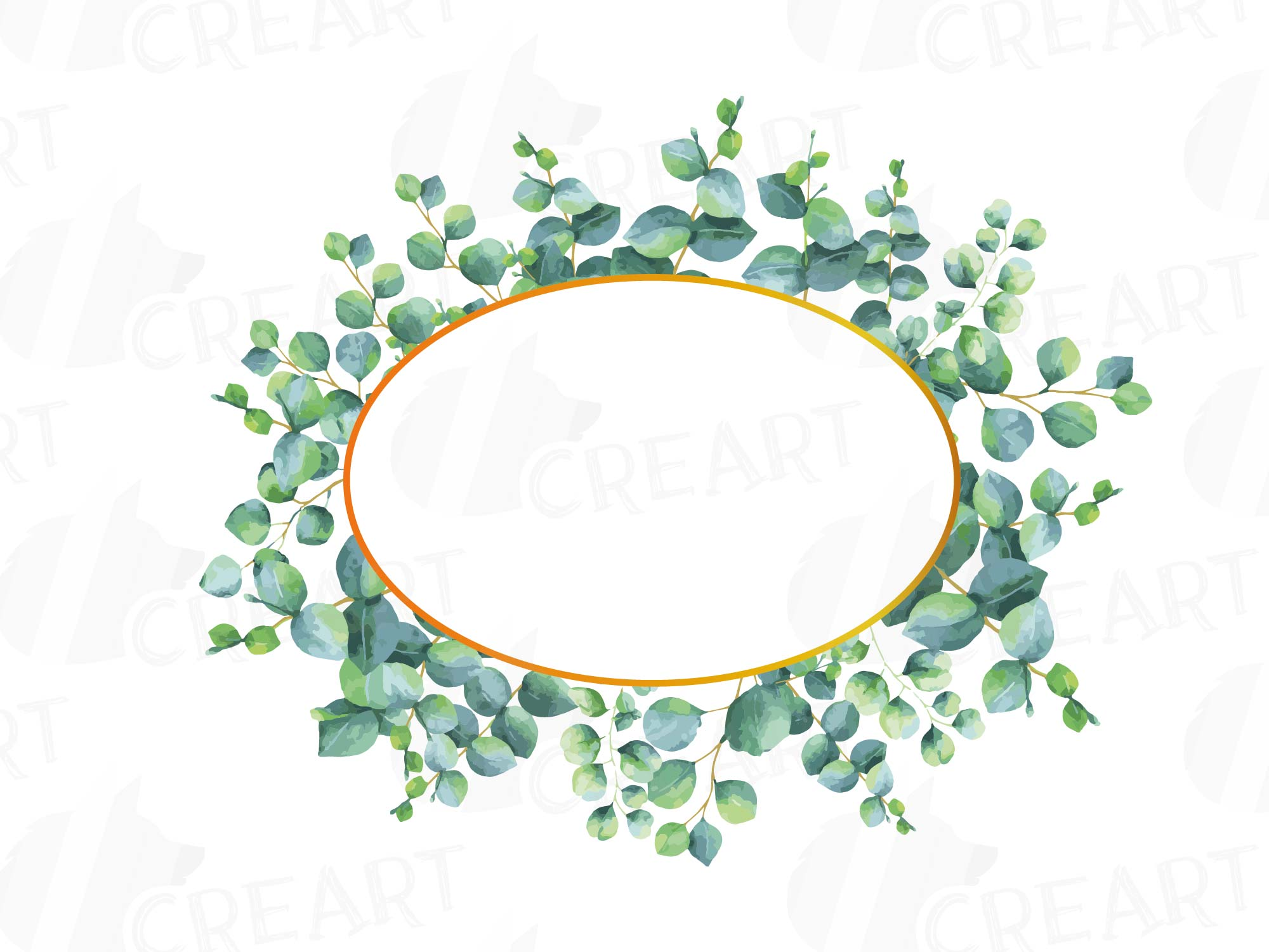 Eucalyptus Frames Watercolor Clip Art Pack Eucalyptus