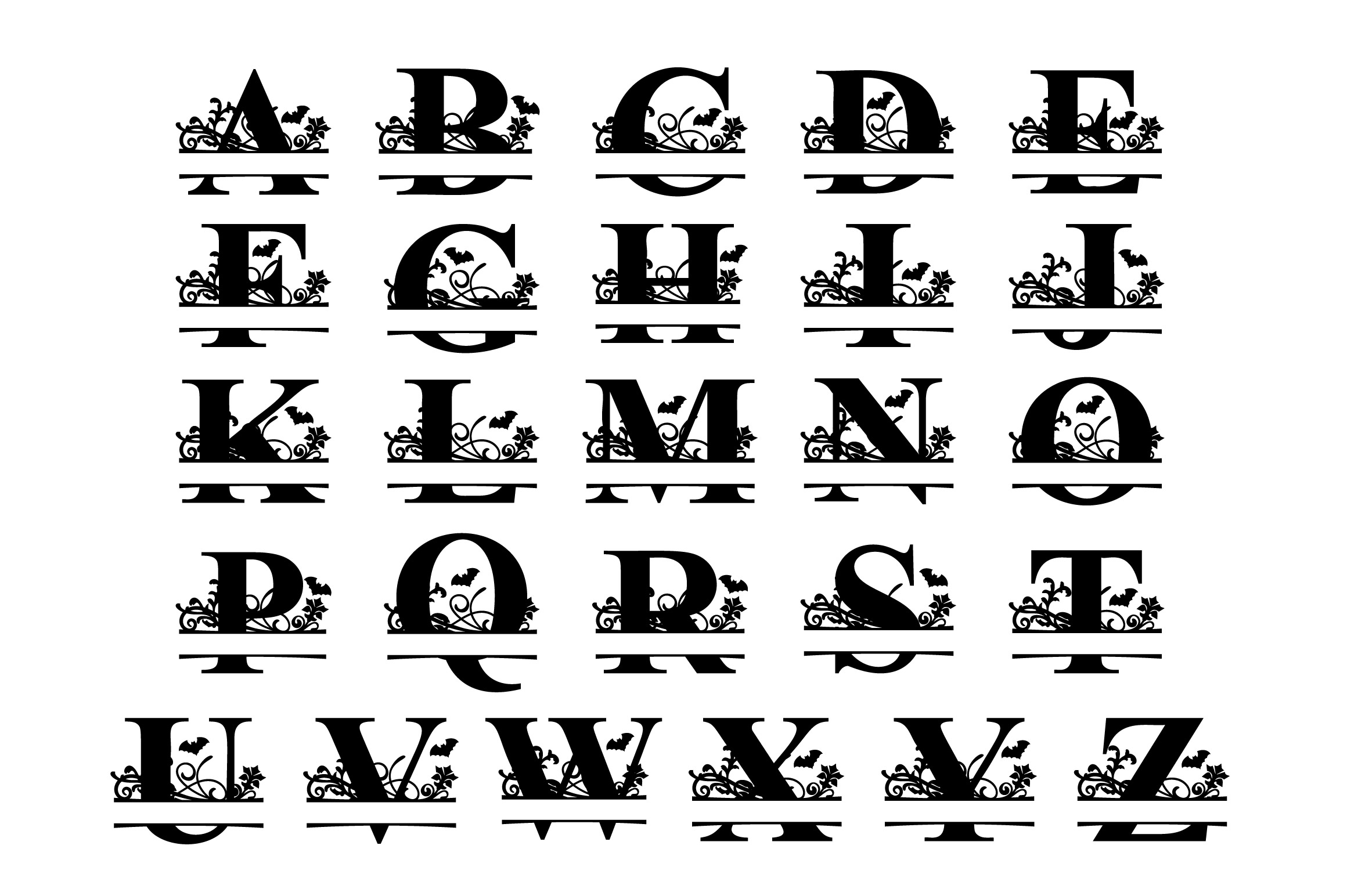 Halloween Split Letter A-Z SVG Cut Files