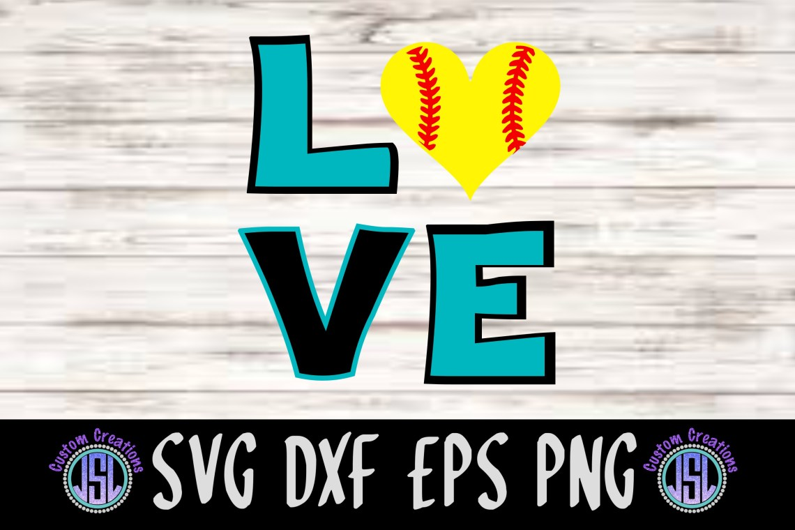 Download LOVE Softball | SVG DXF EPS PNG Cut File