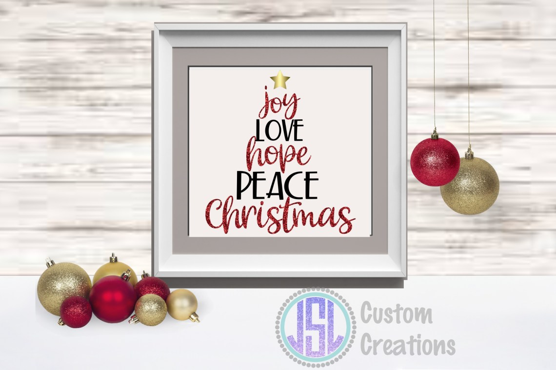 Download Joy Love Hope Peace Christmas | Tree Design |SVG DXF EPS PNG