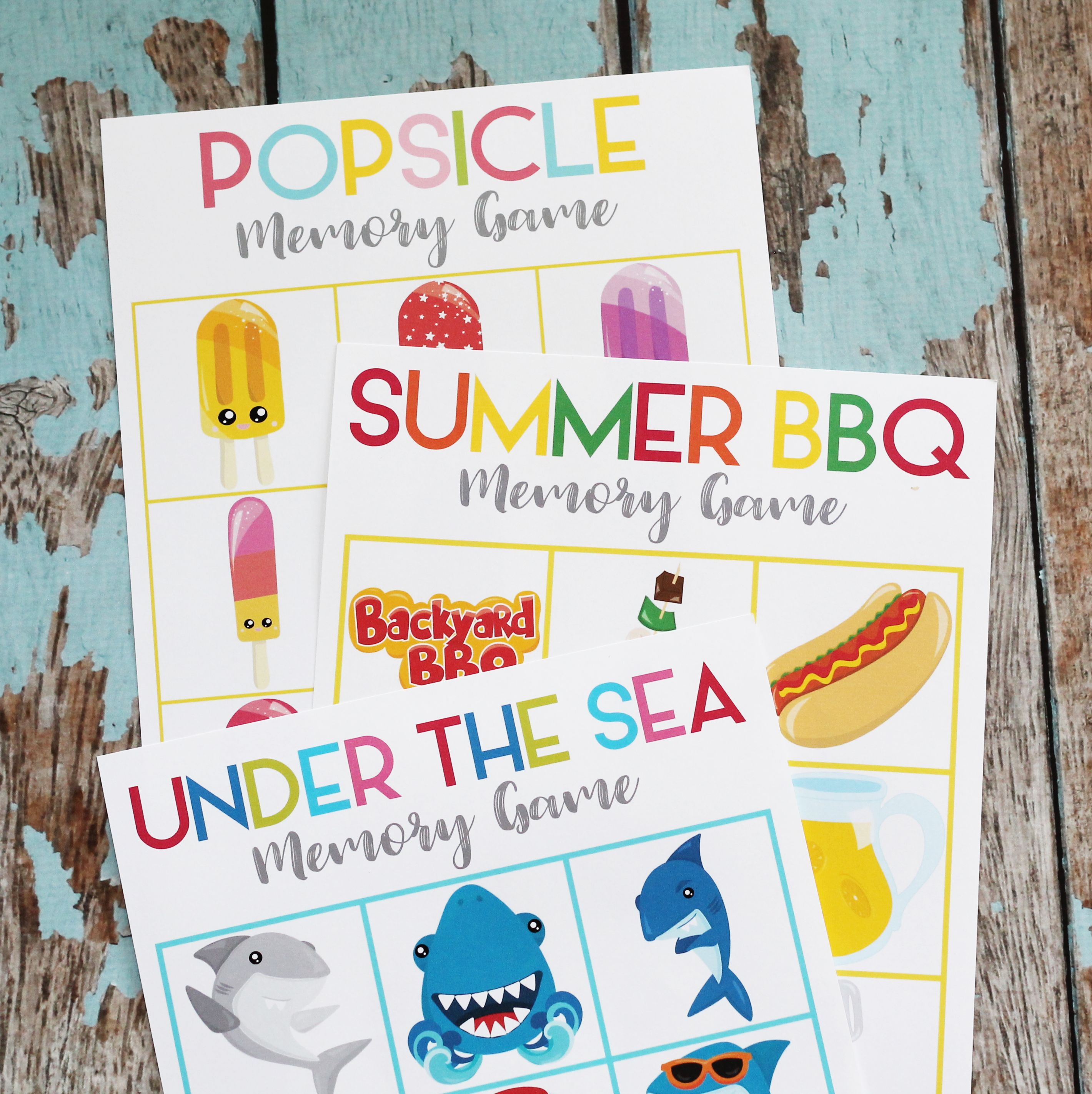 Printable Summer Memory Matching Game