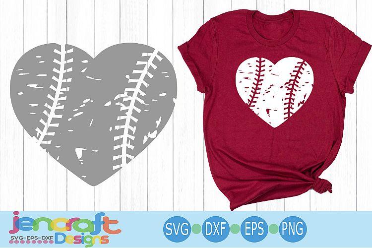 Download Distressed Baseball Heart, Grunge Baseball SVG Cut file