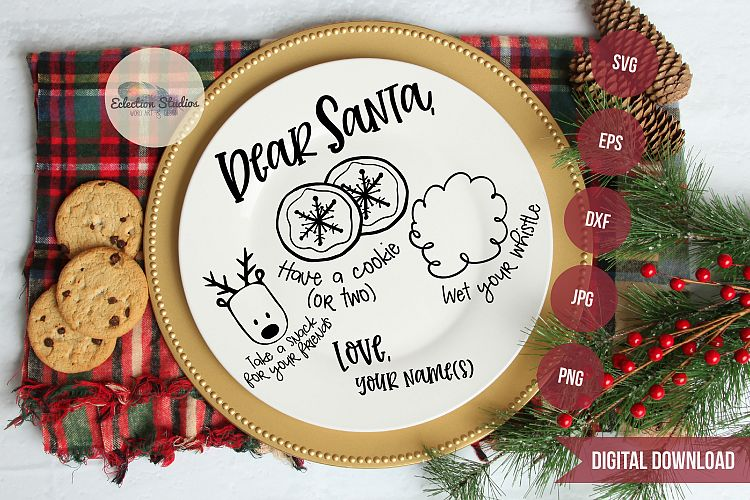 Download Dear Santa, Doodle Cookies for Santa Tray Round SVG