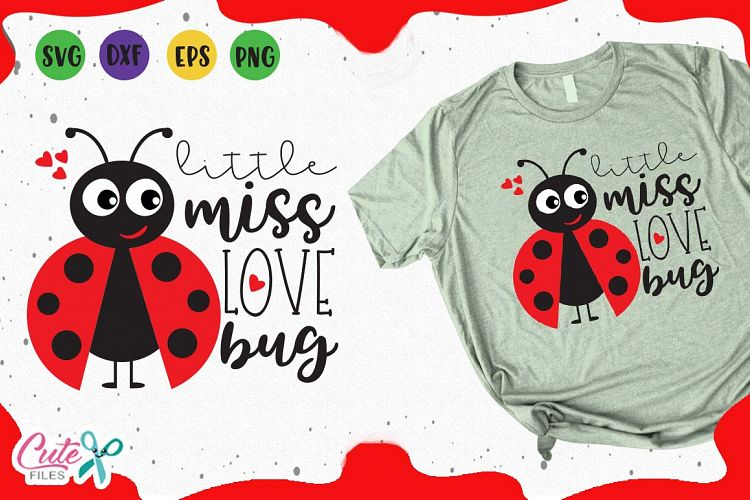 Download Little miss love bug, svg valentines day cut files for craft