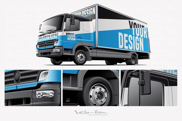 Download Light Commercial Truck Mockup (121823) | Mock Ups | Design ...