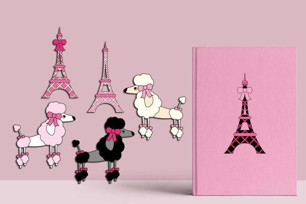 Paris Poodle Graphics Eiffel Tower Puddle Illustrations