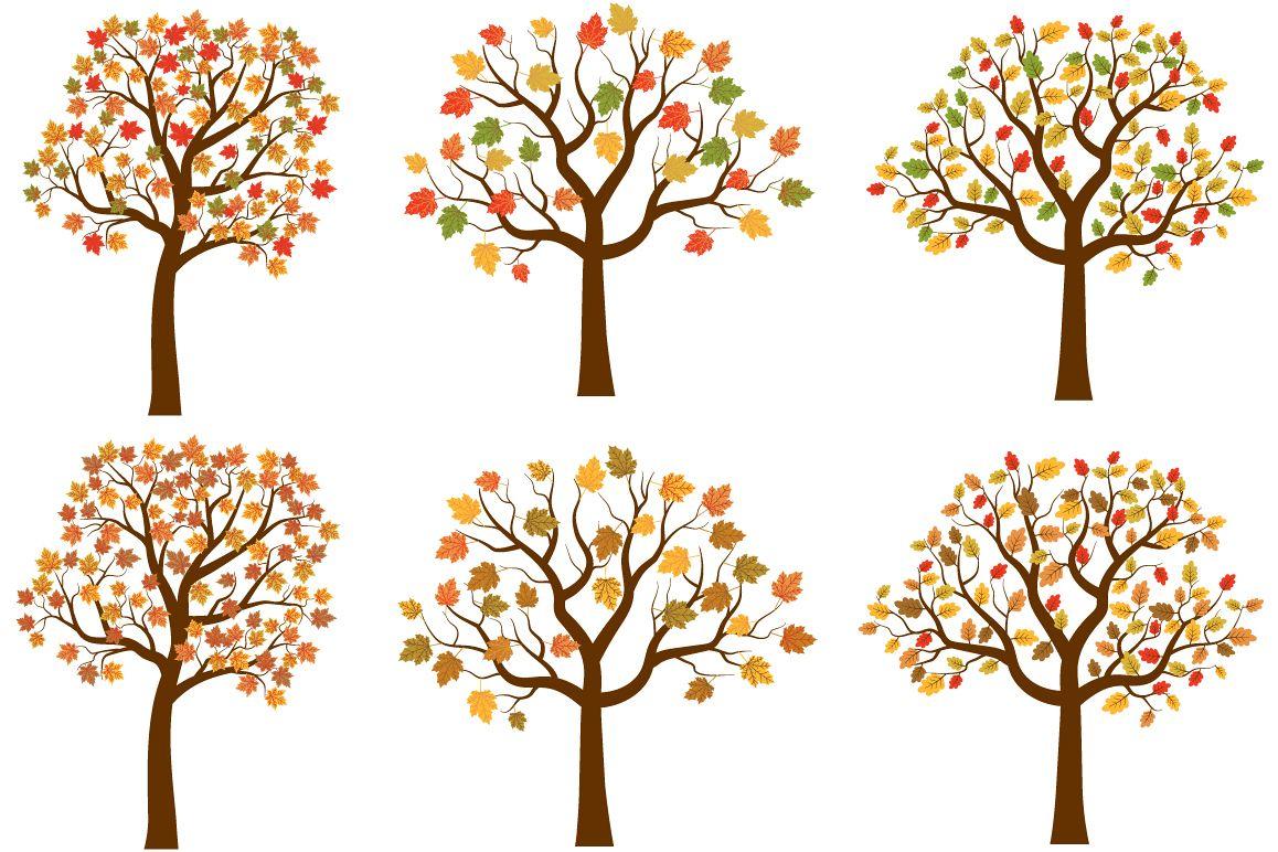 autumn trees clipart set