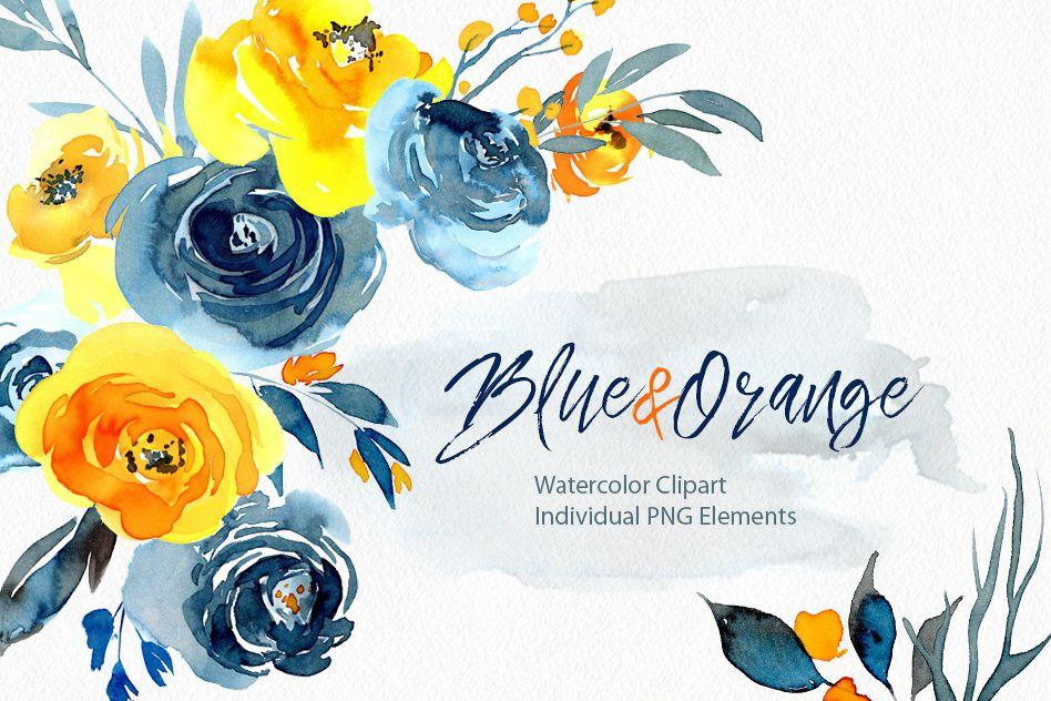 watercolor blue orange yellow