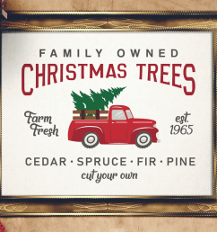 vintage christmas tree truck sign svg magnolia tree farms example image 1 [ 1200 x 800 Pixel ]