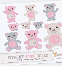 pink teddy bear clip art stitched bear clipart digital clip art pink teddy [ 1158 x 772 Pixel ]