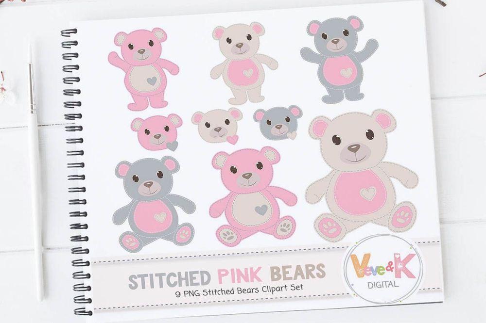 medium resolution of pink teddy bear clip art stitched bear clipart digital clip art pink teddy