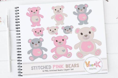 small resolution of pink teddy bear clip art stitched bear clipart digital clip art pink teddy