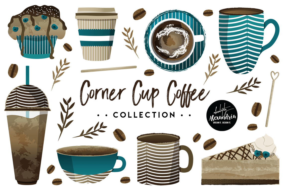 hight resolution of corner cup coffee clipart graphics digital paper patterns bundle example image 1