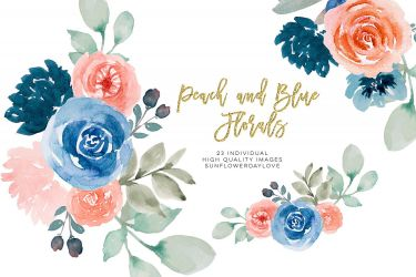 flower border peach floral navy watercolor clip designer follow