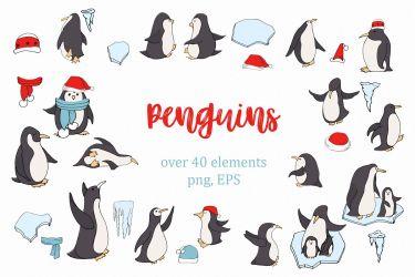 clipart penguins winter elements designer follow