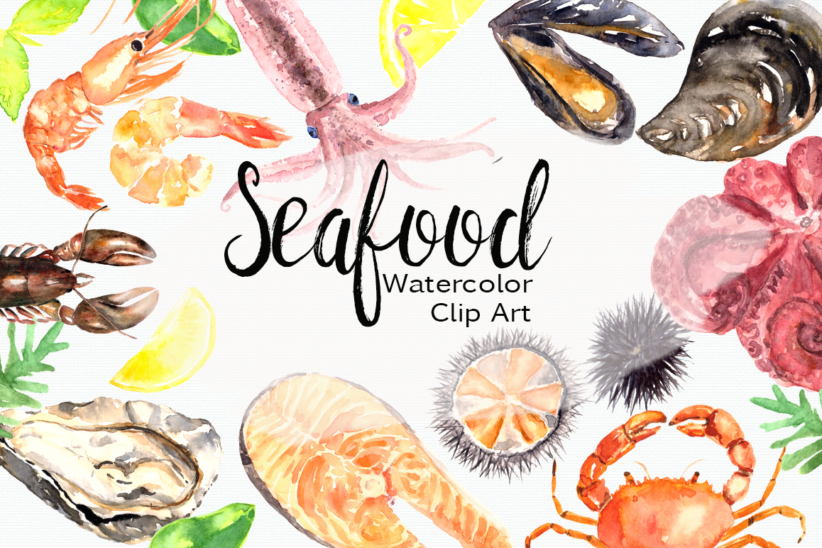 hight resolution of watercolor seafood clip art set example image 1