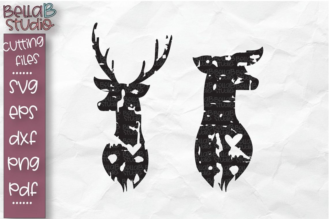 Download Buck and Doe SVG, Deer Head Cut file, Valentine's Day