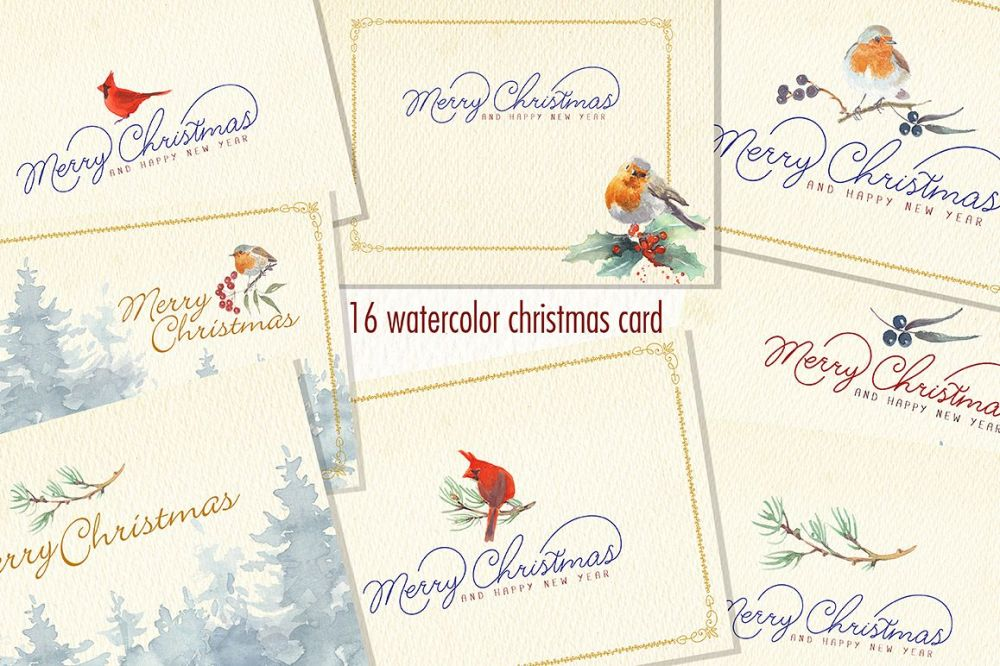 medium resolution of watercolor christmas card clipart example image 1