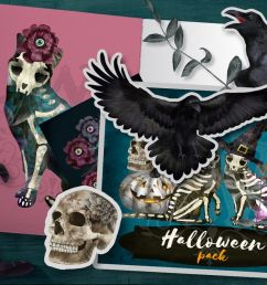 halloween spooky clipart with skeleton cats witch skull example image 1 [ 1200 x 800 Pixel ]