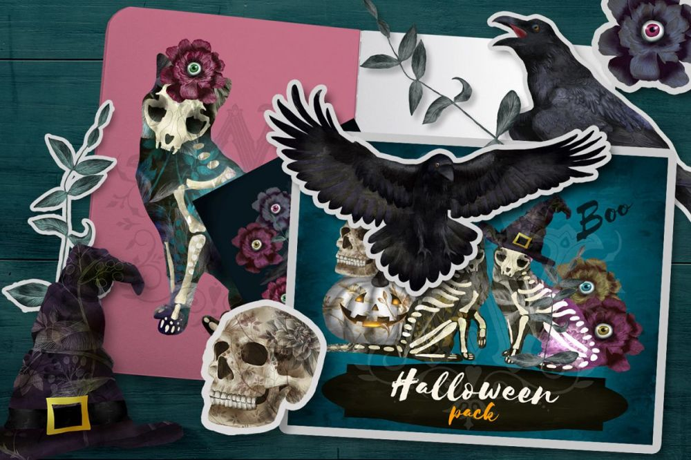 medium resolution of halloween spooky clipart with skeleton cats witch skull example image 1