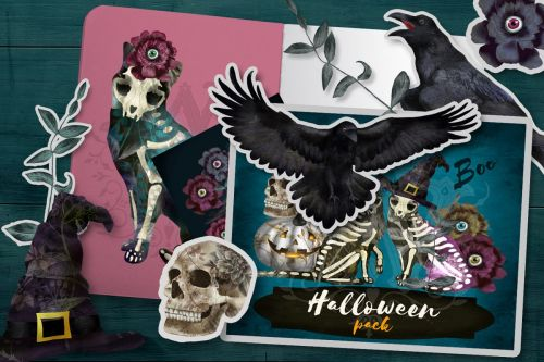 small resolution of halloween spooky clipart with skeleton cats witch skull example image 1