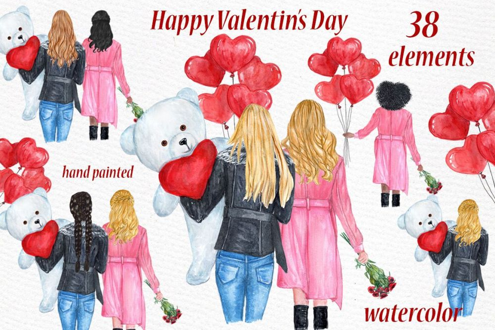 medium resolution of valentines day girls clipart best friend clipart example image 1